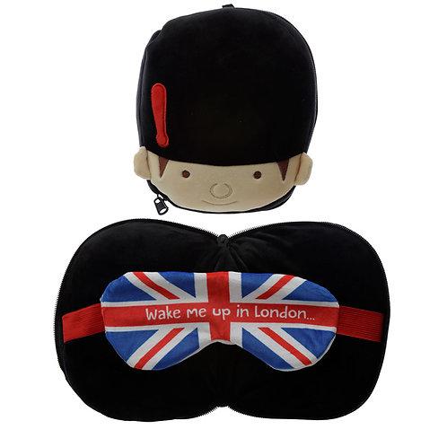 Guardsman Round Travel Pillow & Eye Mask Set Novelty Gift