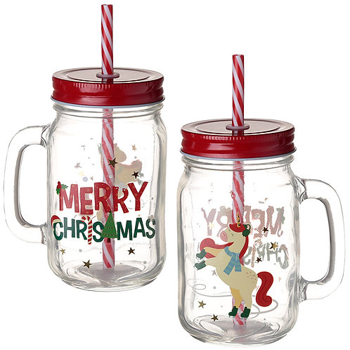 Fun Christmas Mason Drinking Jar - Unicorn Novelty Gift