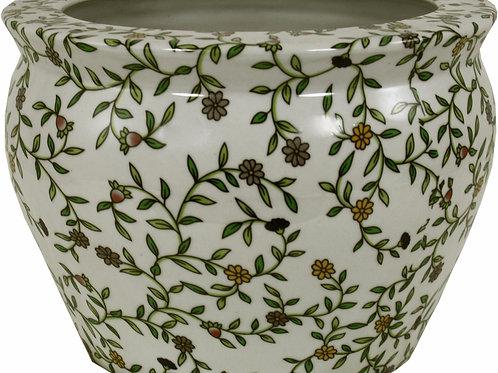 Ceramic Planter, Vintage Green and White Floral Design Shipping furniture UK