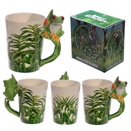 Ceramic Jungle Mug with Tree Frog Handle Novelty Gift