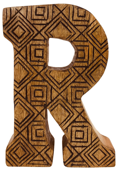 Hand Carved Wooden Geometric Letter R Shipping furniture UK