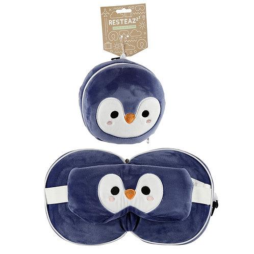 Cutiemals Penguin Relaxeazzz Plush Travel Pillow & Eye Mask Set Novelty Gift