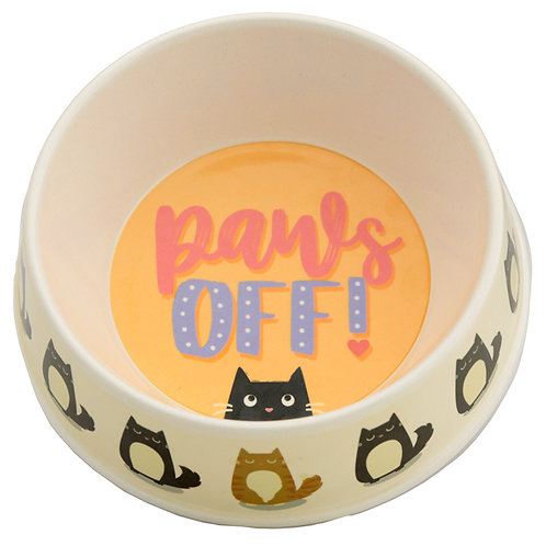Bamboo Composite Pet Food Bowl - Paws Off Feline Fine Cat Novelty Gift
