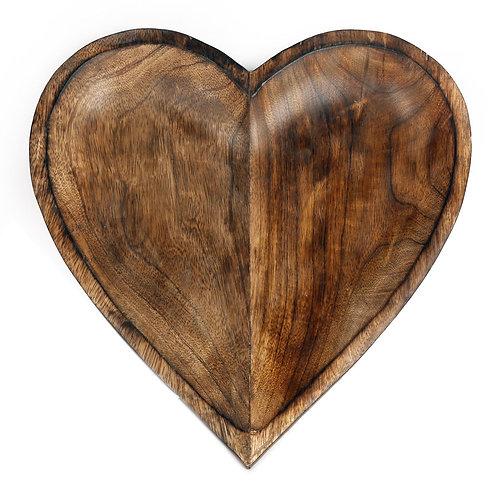 Wooden Heart Bowl, 30cm Shipping furniture UK