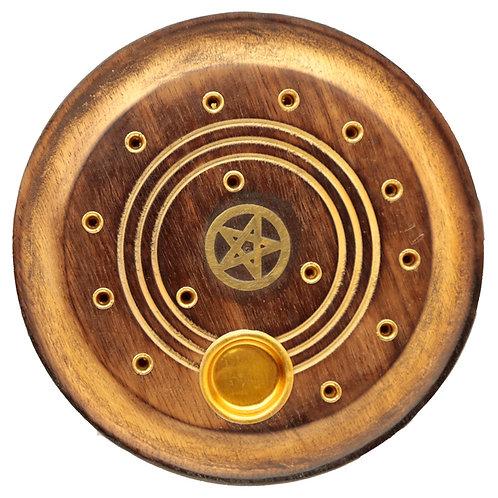 Decorative Round Pentagram Wooden Incense Burner Ash Catcher Novelty Gift