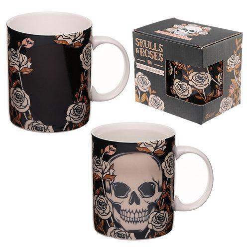 Heat Colour Changing Porcelain Mug - Skulls and Roses Novelty Gift