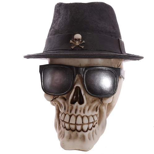 Gothic Skull Decoration wearing Trilby Hat Novelty Gift