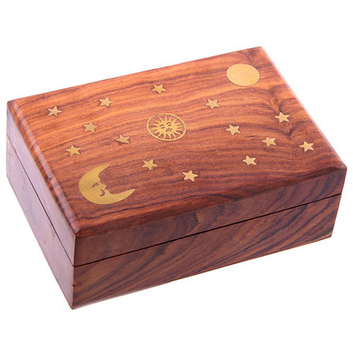 Decorative Sheesham Wood Trinket Box with Stars and Moon Novelty Gift