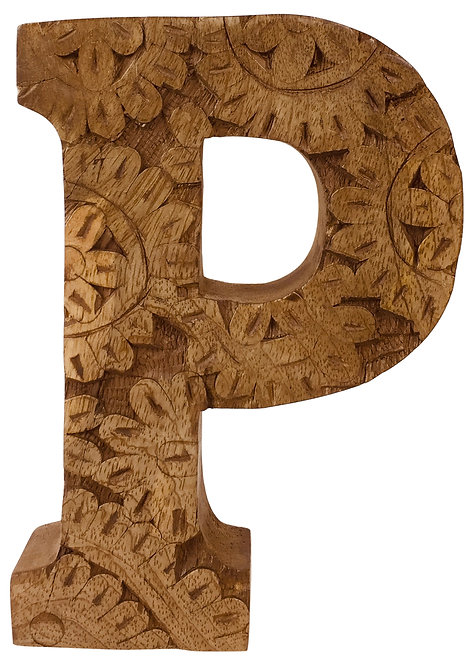 Hand Carved Wooden Flower Letter P Shipping furniture UK