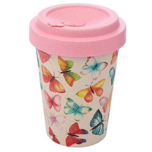 Bamboo Composite Butterfly House Screw Top Travel Mug Novelty Gift