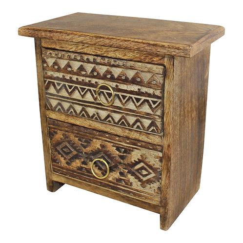 Kasbah 2 Drawer Cabinet Style Trinket Unit 21x20cm Shipping furniture UK