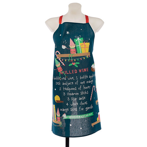 Christmas Elf Mulled Wine Poly Cotton Apron Novelty Gift