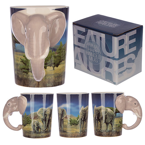 Ceramic Safari Printed Mug with Elephant Head Handle Novelty Gift