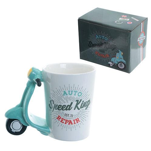 Fun Scooter Shaped Handle Ceramic Mug Novelty Gift