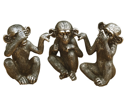 Set Of Three Distressed Resin Monkey Ornaments Shipping furniture UK