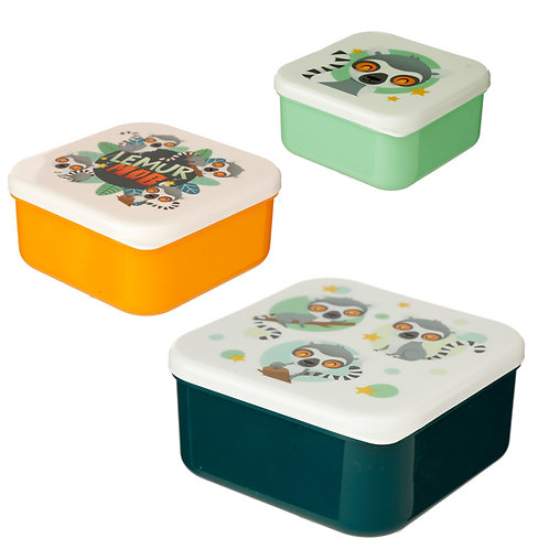 Lemur Mob Set of 3 Reusable BPA Free Plastic Lunch Boxes  Novelty Gift