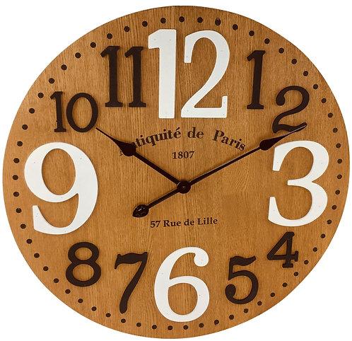 Wooden Embossed Number Clock 60cm Shipping furniture UK