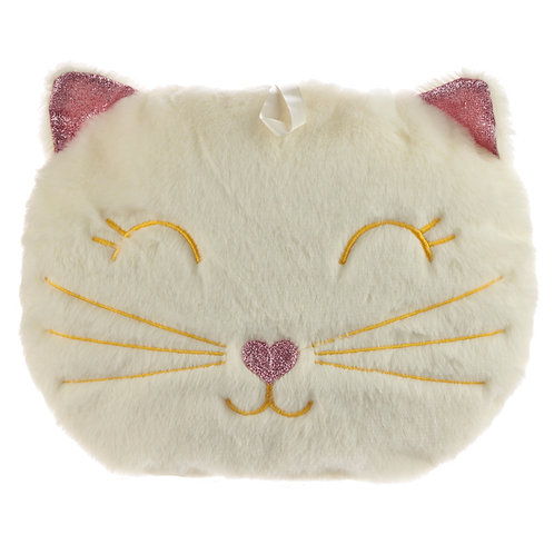 Cute Feline Festive Cat 400ml Hot Water Bottle and Cover Novelty Gift