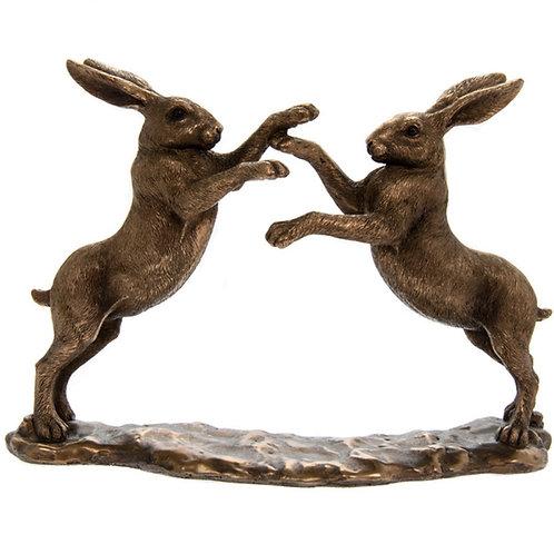 Bronzed Boxing Hares 22cm Shipping furniture UK