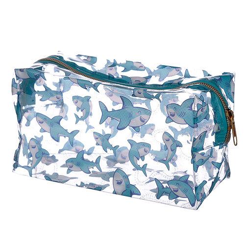 Handy Clear PVC Wash Bag - Shark Design Novelty Gift