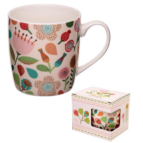 Porcelain Mug - Autumn Falls Floral Design Novelty Gift