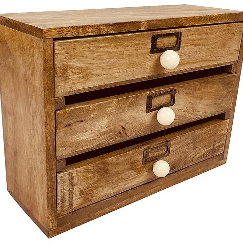 Solid Wood Three Drawer Desktop Organiser 28cm Shipping furniture UK