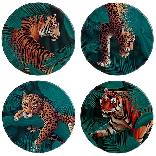 Set of 4 Novelty Coasters - Big Cat Spots and Stripes Novelty Gift