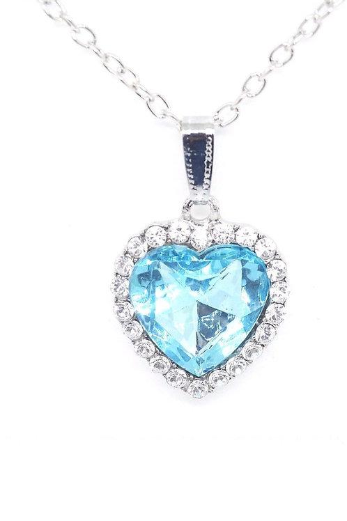 Blue Heart Crystal Stunning Titanic Ocean Diamond Necklace Pendant Gift