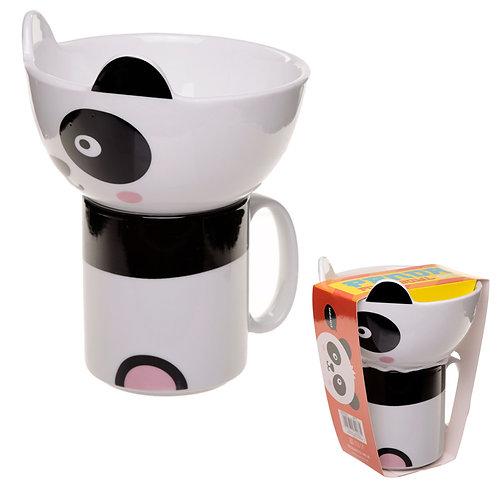 Children's Porcelain Mug and Bowl Set - Cute Panda Novelty Gift