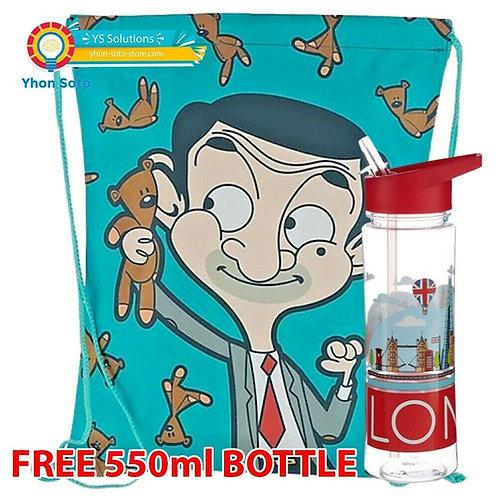 Mr Bean Kids Drawstring Bag - Free Drink Bottle Novelty Gift