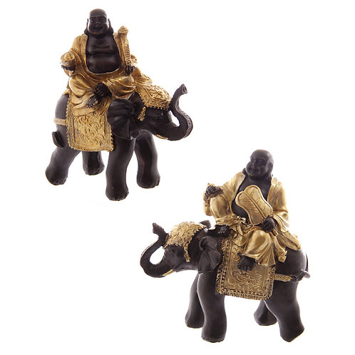 Decorative Gold and Brown Chinese Buddha Riding Elephant Novelty Gift