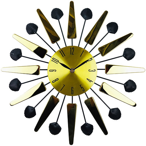 Gold Mirrored Effect Wall Clock 39cm Shipping furniture UK