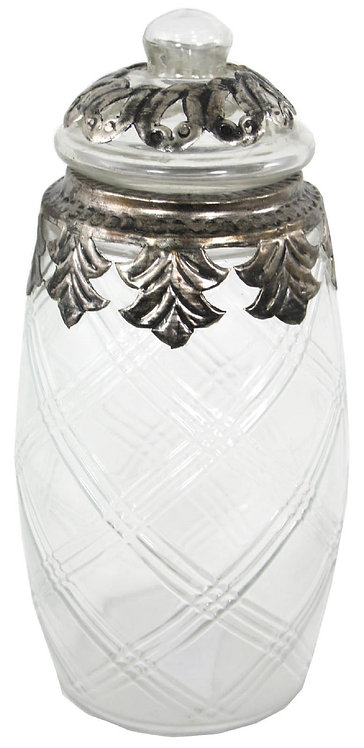 Small Glass And Metal Jar With Lid Shipping furniture UK