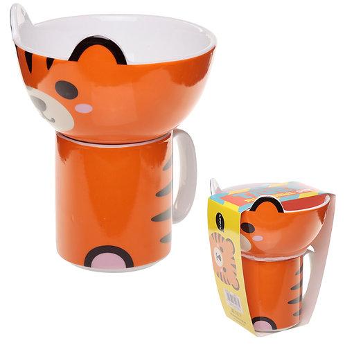 Children's Porcelain Mug and Bowl Set - Cute Tiger Novelty Gift