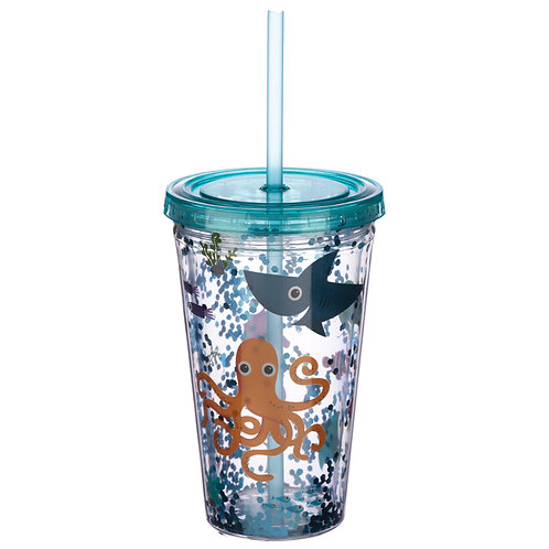 Cute Sea Creatures Double Walled Cup with Lid and Straw Novelty Gift