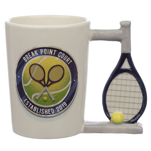 Fun Tennis Racket Shaped Handle Ceramic Mug Novelty Gift