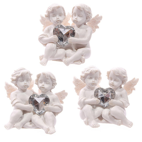 Cute Cherub Couple Holding Silver Gem Heart Novelty Gift