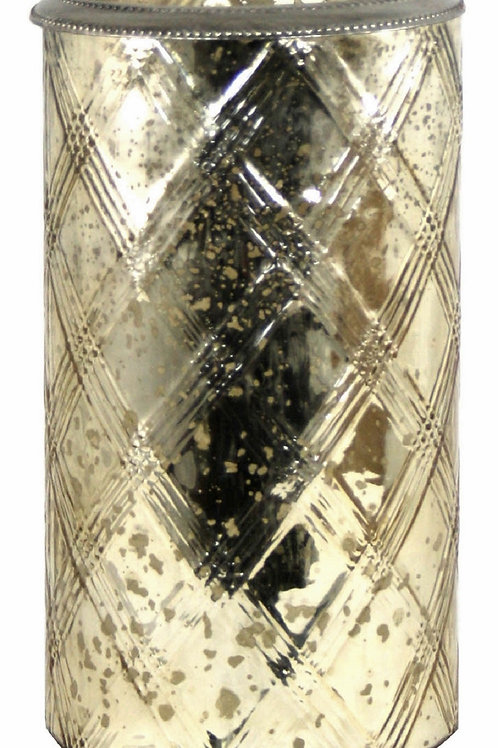 Glass Flower Vase With Metal Ring Gold Shipping furniture UK