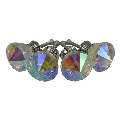 3cm Crystal Effect Doorknobs, diamond shaped, set of 4 Shipping furniture UK
