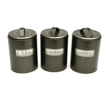 Brushed Tin Tea/Coffee/Sugar Canisters Shipping furniture UK