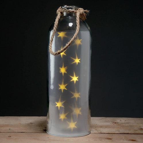Decorative LED Glass Light Jar - White Stars Large with Rope Novelty Gift