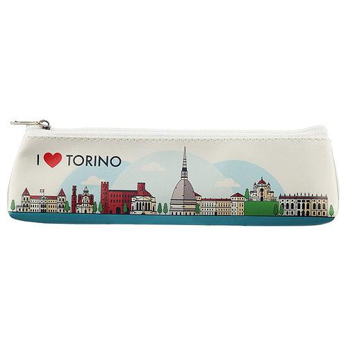 Fun Novelty Pencil Case - I Heart Torino Design Novelty Gift [Pack of 2]