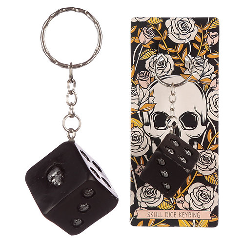 Novelty Collectable Skulls and Roses Dice Keyring Gift