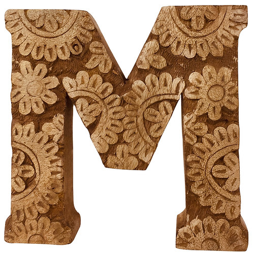 Hand Carved Wooden Flower Letter M Shipping furniture UK