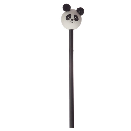 Cute Panda Pom Pom Pencil with Topper Novelty Gift [Pack of 2]