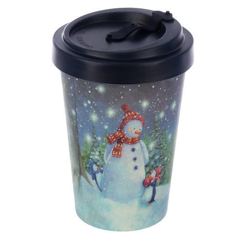 Bamboo Composite Jan Pashley Christmas Snowman Screw Top Travel Mug Novelty Gift
