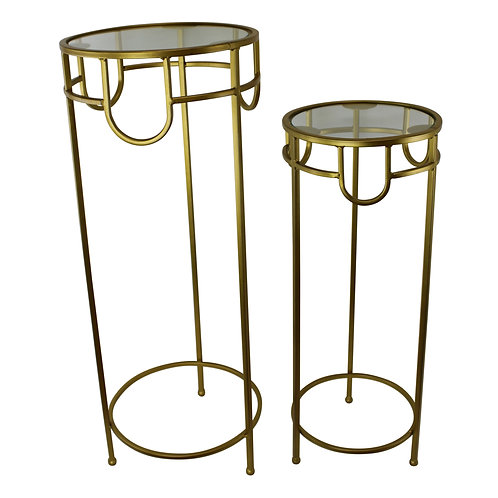Set of 2 Glass Top, Gold Metal Plant Stands Shipping furniture UK