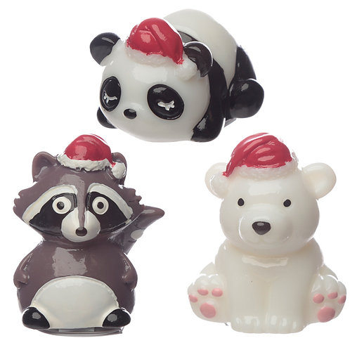 Lip Balm - Christmas Panda, Bear and Raccoon Novelty Gift