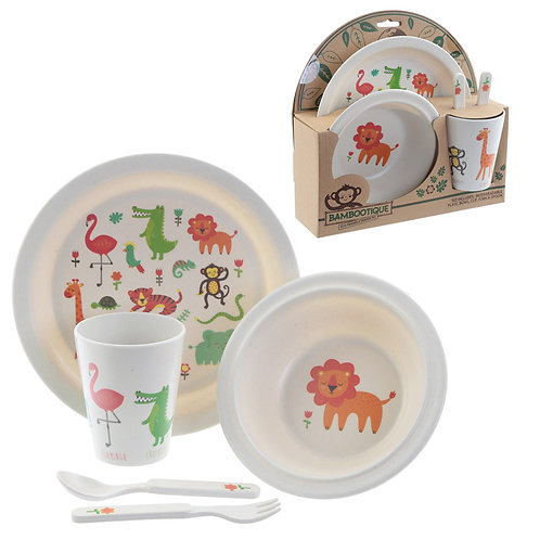 Bamboo Composite Zooniverse Kids Dinner Set Novelty Gift