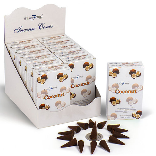 Stamford Hex Incense Cones - Coconut Novelty Gift [Pack o 12]